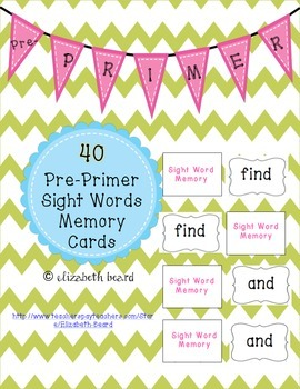 Sight Word Memory Cards: Pre-Primer for Kindergarten and First Grade