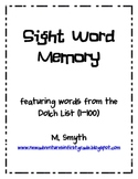 Sight Word Memory/ Flash Cards for Dolch Words 1-100