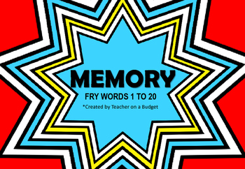 Sight Word Memory Fry Words 1 to 20