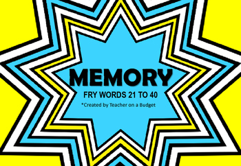 Sight Word Memory Fry Words 21 to 40