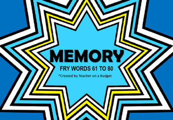 Sight Word Memory Fry Words 61 to 80