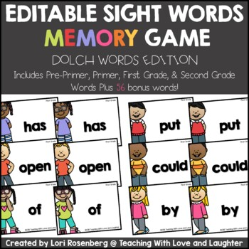 Sight Words Memory Game {Dolch Words Edition}