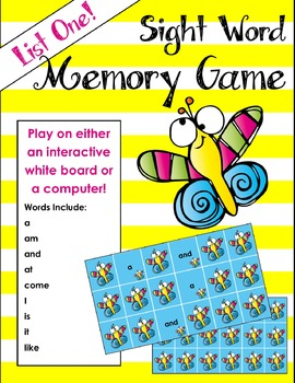 Sight Word Memory Game for Whiteboard or Computer
