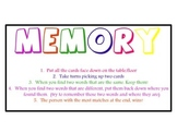 Sight Word Memory Game from Pre-Primer to Third Grade