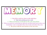 Sight Word Memory Game using Pre-Primer Words