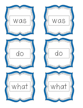 Sight Word Memory- Kindergarten