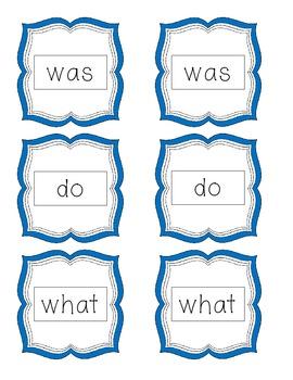 Sight Word Memory- Kindergarten