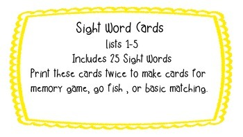 Sight Word Memory Lists 1-5 Includes 25 words