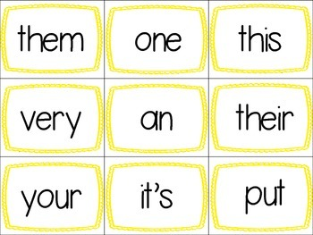 Sight Word Memory Lists 11-15 Includes 25 words
