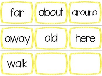 Sight Word Memory Lists 6-10 Includes 25 words