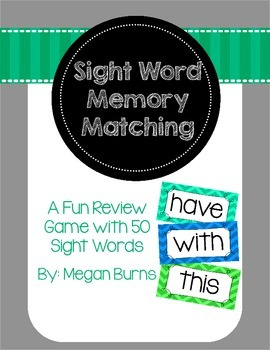 Sight Word Memory Matching