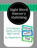 Sight Word Memory Matching