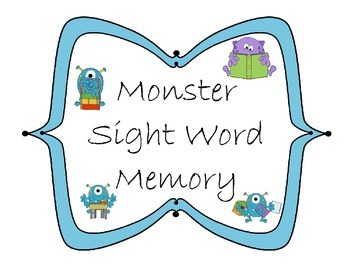 Sight Word Memory Matching Game- Monster Theme