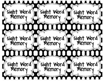Sight Word Memory: Primer Dolch Words
