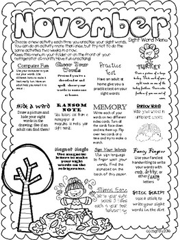 Sight Word Menus for the Whole Year!