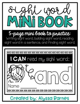 Sight Word Mini Book: And
