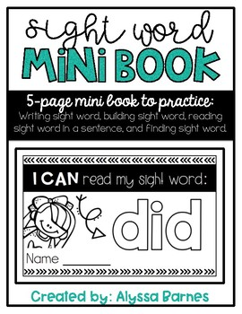 Sight Word Mini Book: Did