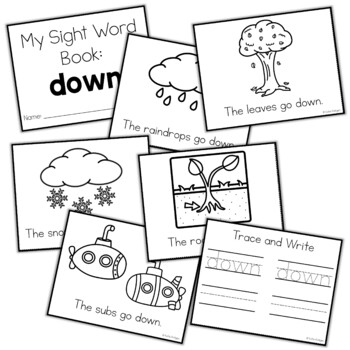 Sight Word Mini Book:  Down