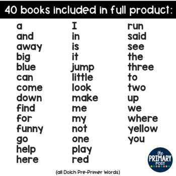 FREE Sight Word Mini Book