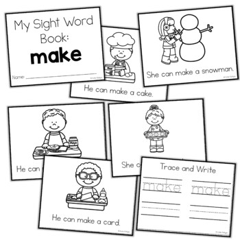 Sight Word Mini Book:  Make
