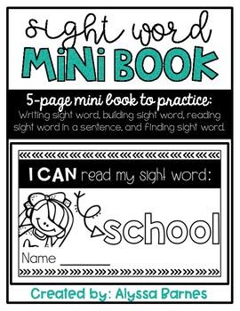 Sight Word Mini Book: School