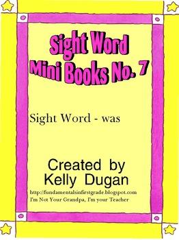 Sight Word Mini Book - was