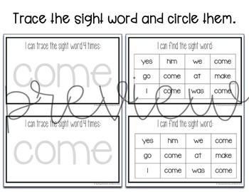 Sight Word Mini Books Bundle for Pre-primer and Primer Sight Words