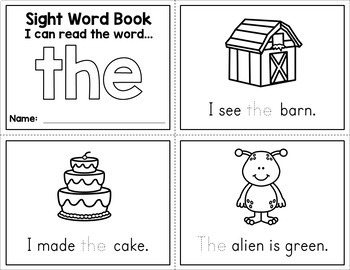 Sight Word Mini Books Sample - Free