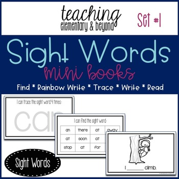 Sight Word Mini Books for Pre-primer and Primer Sight Words Set 1