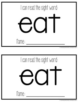Sight Word Mini Books for Pre-primer and Primer Sight Words Set 2