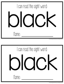 Sight Word Mini Books for Pre-primer and Primer Sight Words Set 4