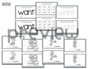 Sight Word Mini Books for Pre-primer and Primer Sight Words Set 5