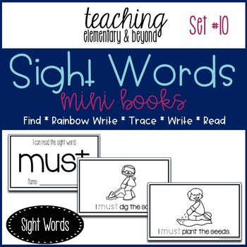 Sight Word Mini Books for Pre-primer and Primer Sight Words Set 10