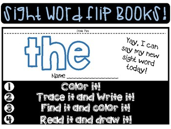 Sight Word Mini Flip Books By Sensational Special Ed Tpt