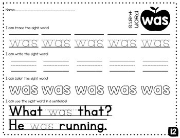 Sight Word Mini-Pack 2 | Fry's Words 11-20 | Homework | Morning Work