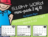 Sight Word Mini-Pack 2 | Fry's Words 11-20 | Homework | Morning Work