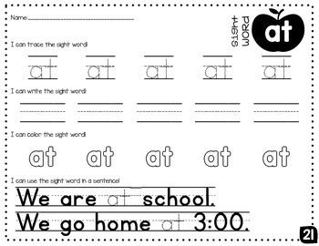 Sight Word Mini-Pack 3 | Fry's Words 21-30 | Homework | Morning Work