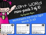Sight Word Mini-Pack 3 | Fry's Words 21-30 | Homework | Mo