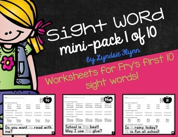 Sight Word Mini-Pack | Fry's First 10 Words | Homework | M