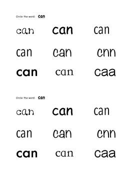 Sight Word Mini-book-  Can