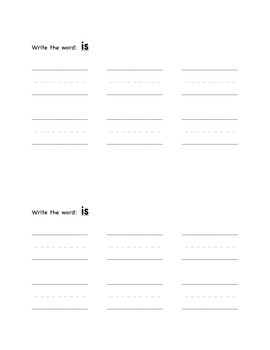Sight Word Mini-book-  Is