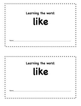 Sight Word Mini-book-  Like