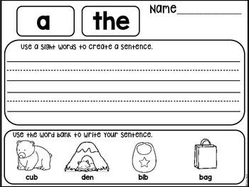 Sight Word Create a Sentence