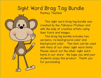 "Sight Word ""Monkey"" Brag Tags"