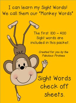 "Sight Word ""Monkey Words"" Lists #1-4 Check off sheets"