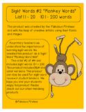 "Sight Word ""Monkey Words""  List #2  Words 101 -200"