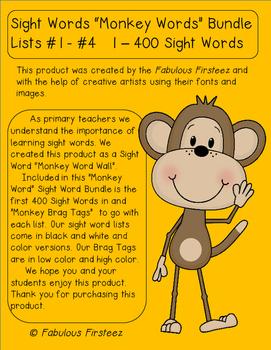 "Sight Word ""Monkey Words"", ""Monkey Brag Tag"" Bundle"