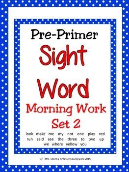 Sight Word Morning Work Pre-Primer Set 2