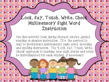 Sight Word Multisensory Approach Activity- For the entire year
