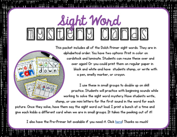 Sight Word Mystery Cards • Primer
